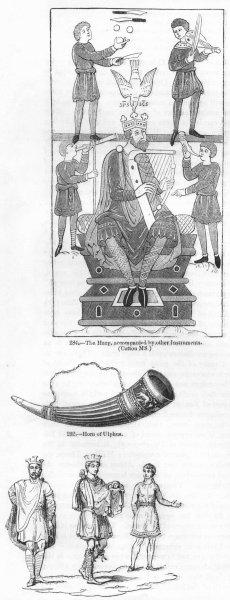 Associate Product MUSIC. Harp, Ulphus horn, violin, flute; Saxon dress 1845 old antique print