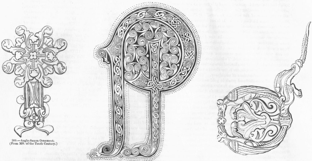 Associate Product SAXONS. Ornaments & letters(8th & 10th Century) 1845 old antique print picture