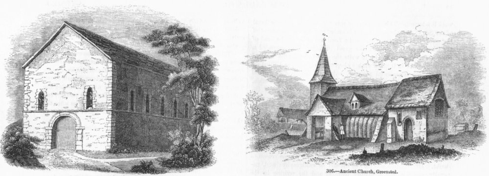 Associate Product CHURCHES. St Marys Chapel, Kingston; Church, Greensted 1845 old antique print