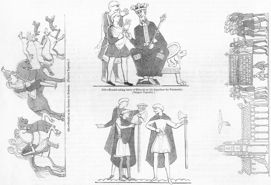 Associate Product BAYEUX TAP'Y. Harold Bosham Edward funeral Normandy 1845 antique print