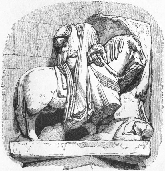 FRANCE. William Conqueror, St Stephen, Caen 1845 old antique print picture