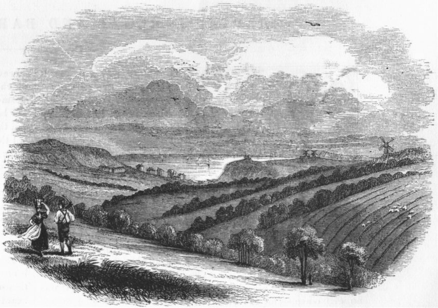 Associate Product SUSSEX. Hastings, fairlight downs 1845 old antique vintage print picture