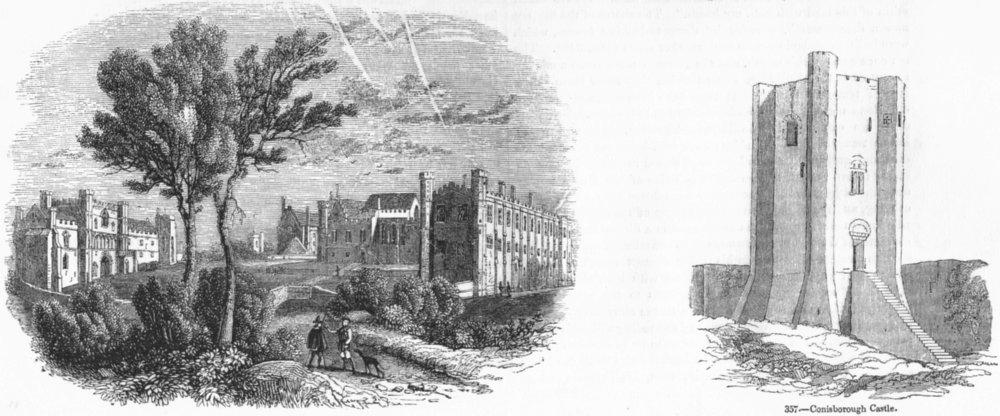 Associate Product CONISBOROUGH CASTLE. & Battle Abbey 1845 old antique vintage print picture