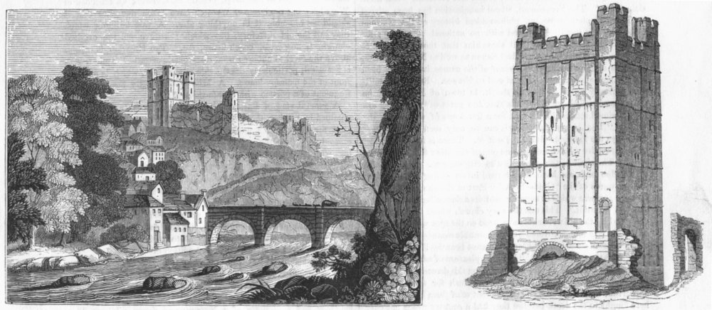 Associate Product YORKS. Richmond Castle, river Swale; keep of 1845 old antique print picture