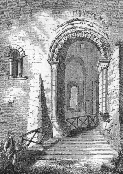 Associate Product KENT. Entrance of Rochester Castle 1845 old antique vintage print picture