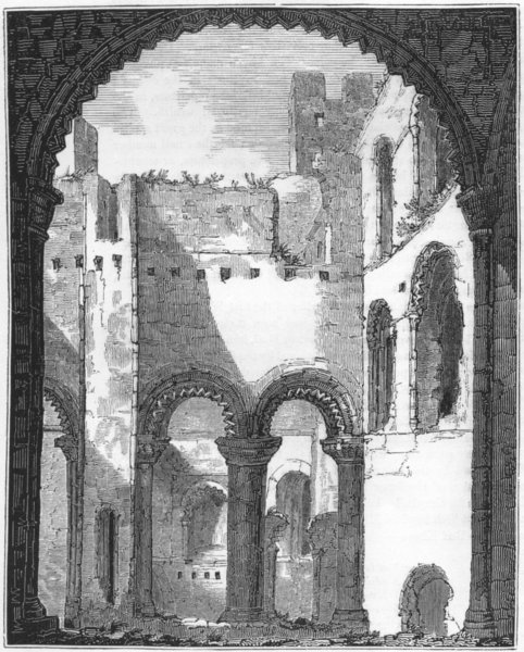 Associate Product KENT. Remains of Upper Story Rochester Castle 1845 old antique print picture