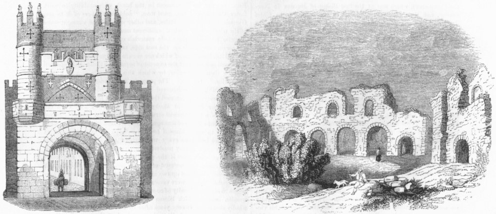 Associate Product MONK BAR, YORK. & Reading Abbey ruins in 1721 1845 old antique print picture