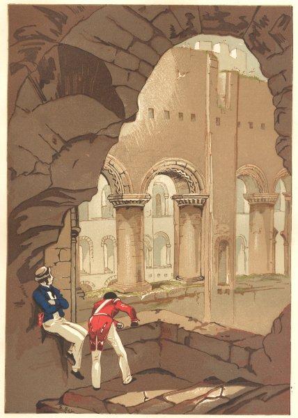 Associate Product KENT. Rochester Castle-Interior 1845 old antique vintage print picture