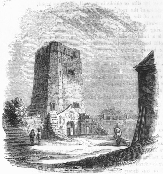 Associate Product OXON. Tower of Oxford Castle 1845 old antique vintage print picture