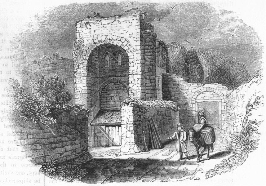 Associate Product DEVON. Rougemont Castle 1845 old antique vintage print picture