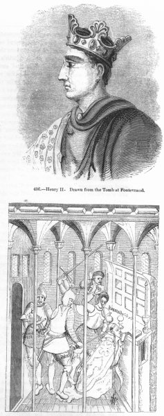 Associate Product HENRY II. & Martyrdom of Thomas Becket 1845 old antique vintage print picture