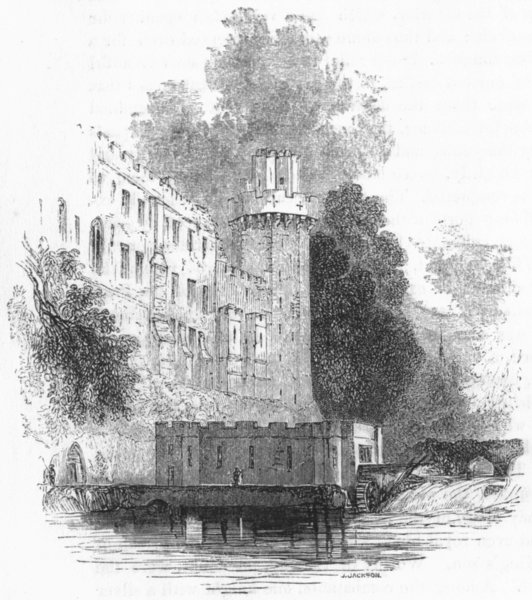 Associate Product WARCS. Warwick Castle, from the Island 1845 old antique vintage print picture