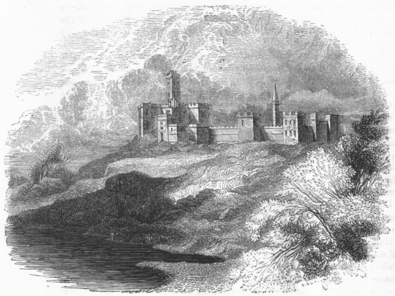 Associate Product NORTHUMBS. Warkworth Castle 1845 old antique vintage print picture