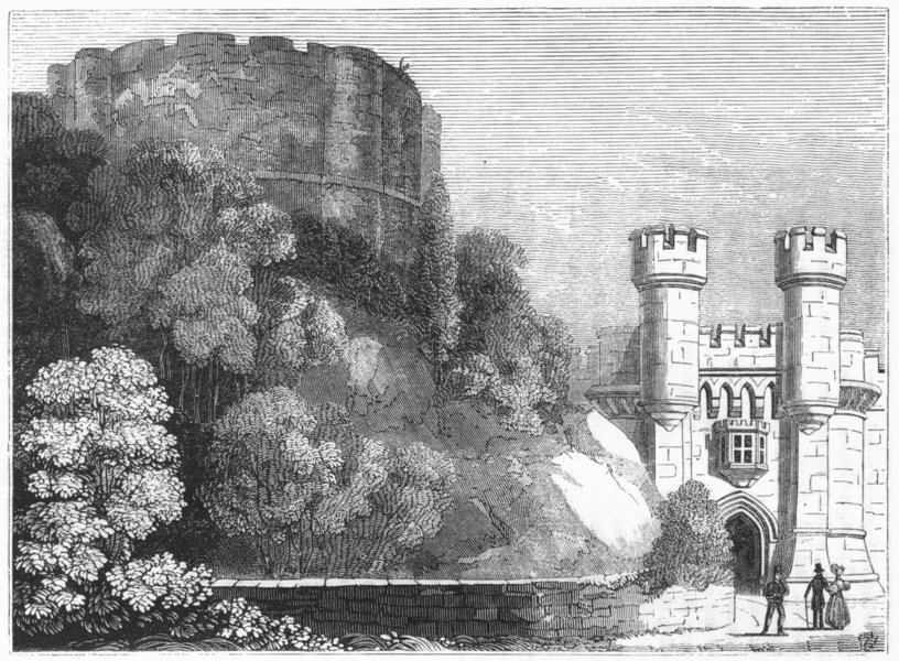Associate Product YORKS. Clifford's Tower & entry to York Castle 1845 old antique print picture