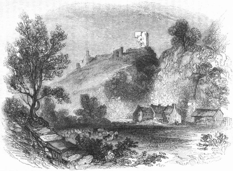 Associate Product DERBYS. Peverel Castle, Derbyshire 1845 old antique vintage print picture
