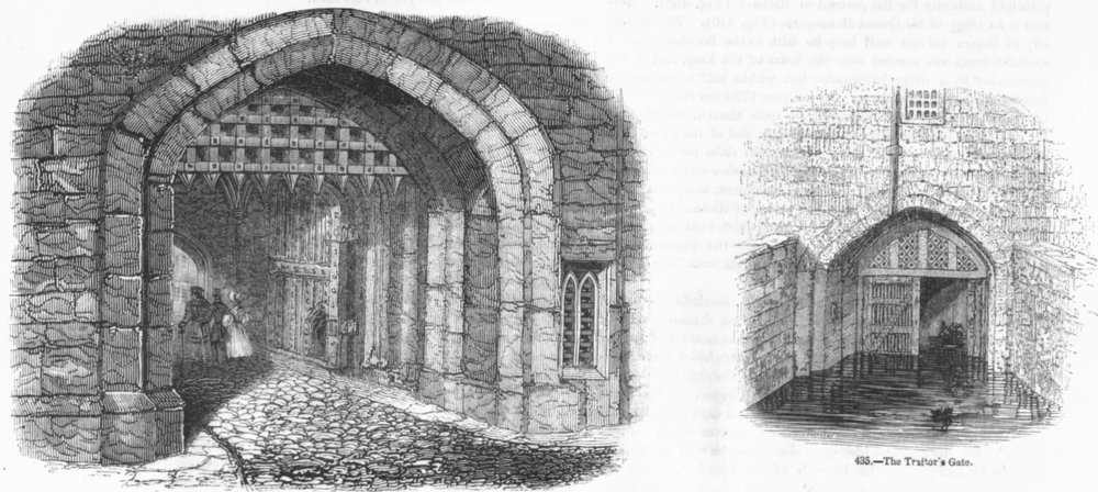 Associate Product LONDON. Gateway of Bloody Tower; Traitor's Gate 1845 old antique print picture