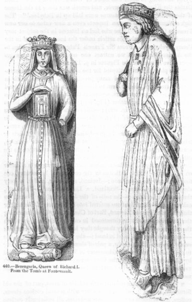 Associate Product RICHARD I. Effigy ; Queen Berengaria 1845 old antique vintage print picture
