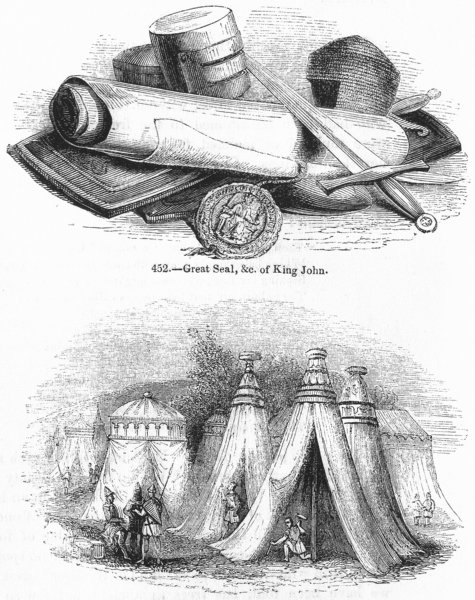 Associate Product DECORATIVE. King John seal ; Tents 1845 old antique vintage print picture
