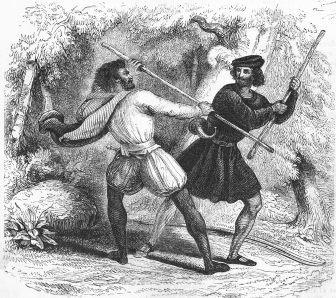 Associate Product ROGUES. Robin Hood & Tanner-Quarter-staff 1845 old antique print picture
