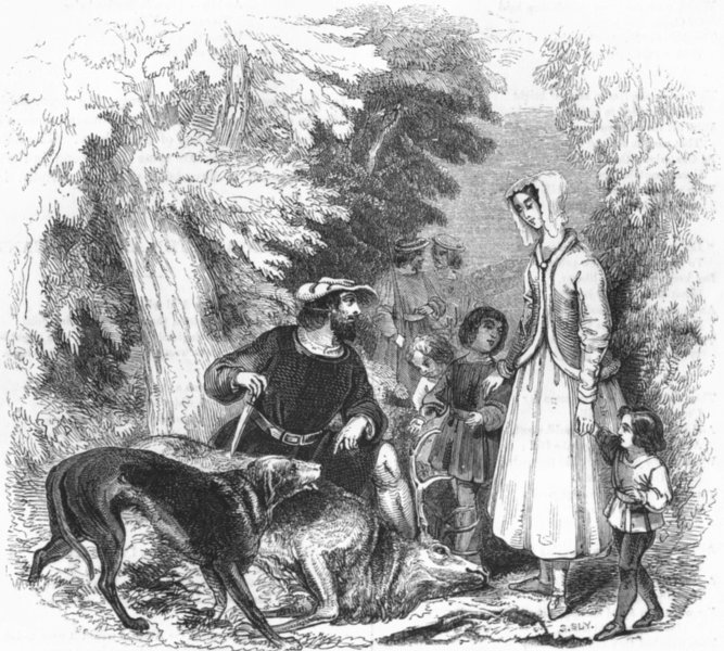 Associate Product FAMILY. William of Cloudeslie, Englewood forest 1845 old antique print picture