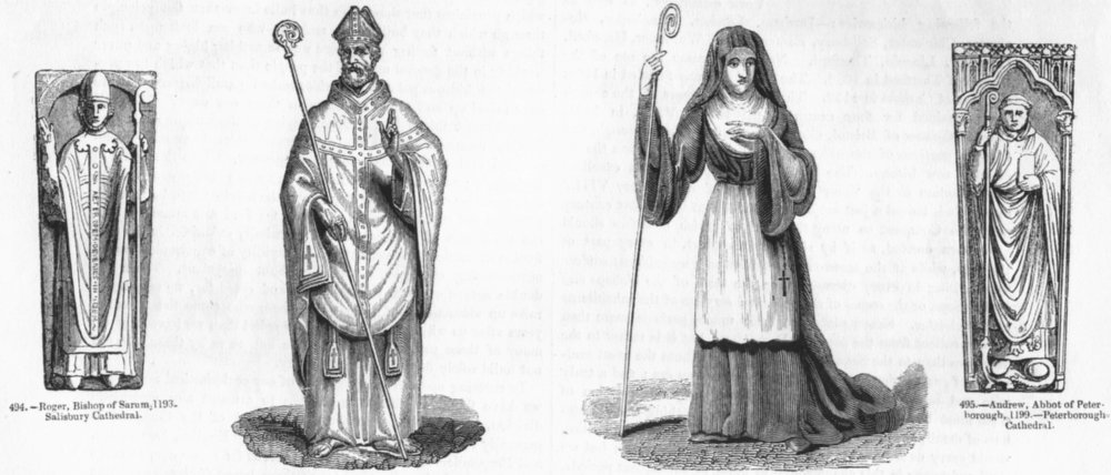 Associate Product CLERGY. Bishop Sarum; Abbot; Abbess; Peterborough 1845 old antique print