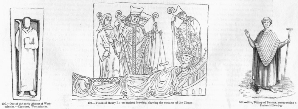 Associate Product CLERGY. Westminster abbot; Henry I; Odo Bayeux Bishop 1845 old antique print