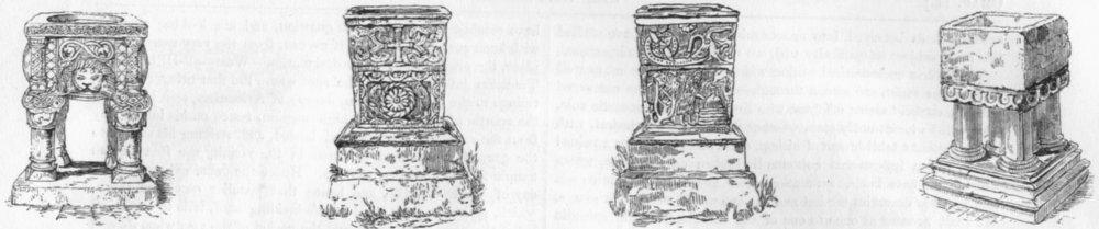 Associate Product FONTS. Sharnbourn Church, Norfolk; Bridekirk; Berkeley 1845 old antique print