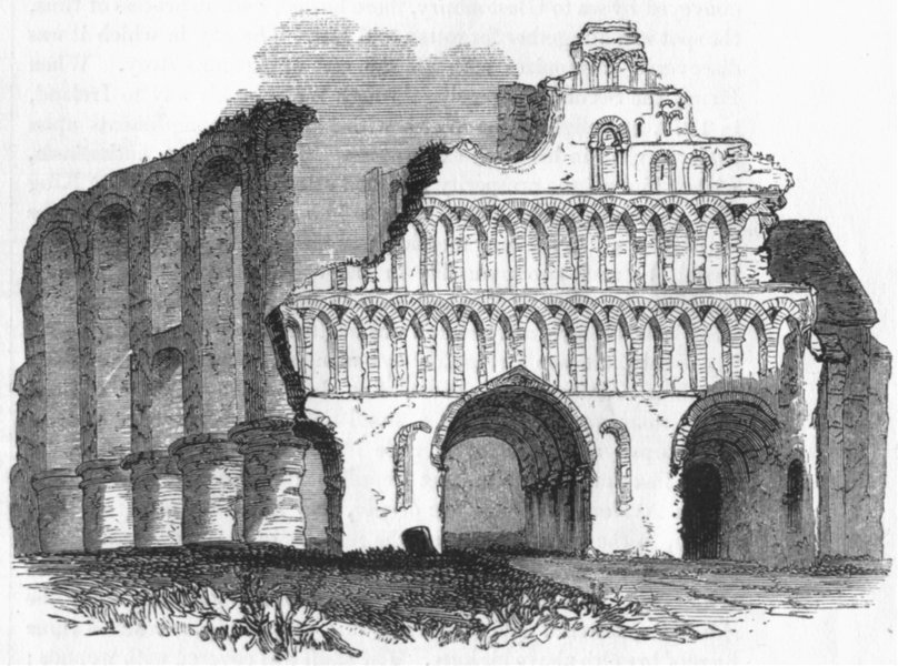 Associate Product ESSEX. St Botolph's Priory, Colchester 1845 old antique vintage print picture