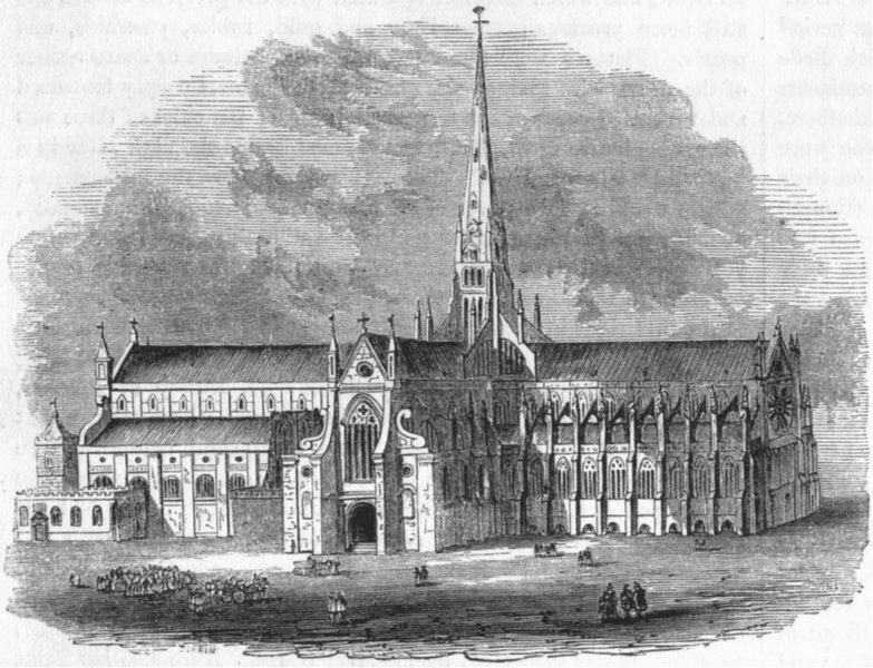 Associate Product LONDON. Old St Paul's, before destruction of Steeple 1845 antique print
