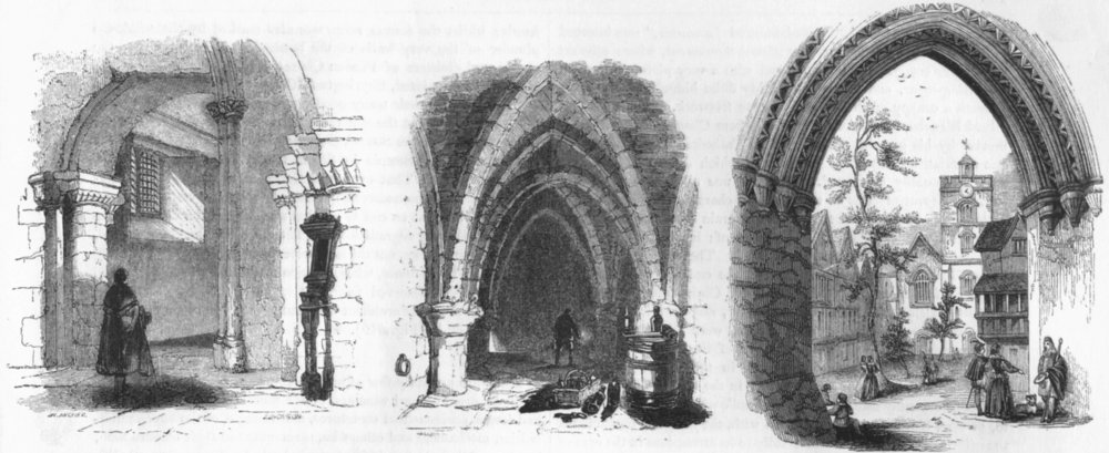 Associate Product ST BARTHOLOMEW'S CHURCH. entry, Crypt 1845 old antique vintage print picture
