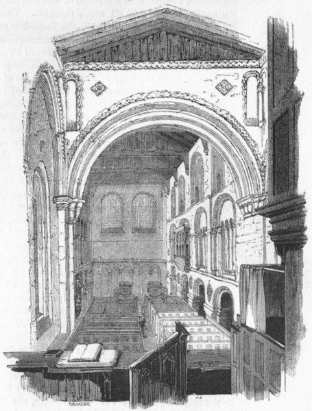 Associate Product LONDON. Choir, St Bartholomew's Church 1845 old antique vintage print picture