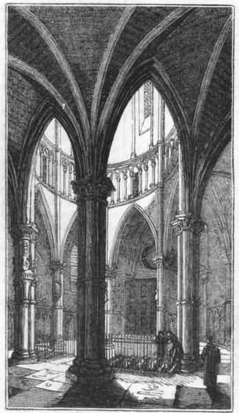 Associate Product BUILDINGS. Round, Temple Church 1845 old antique vintage print picture