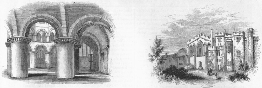 Associate Product CAMBS. Round Church, Cambridge; St John's Hospital 1845 old antique print