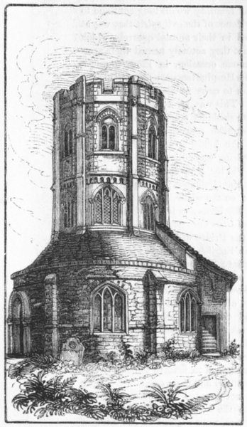 Associate Product CAMBS. Round Church, Cambridge 1845 old antique vintage print picture