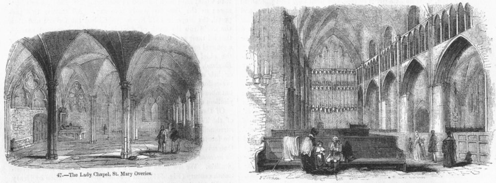 Associate Product LONDON. Lady Chapel, St Mary Overies; Choir  1845 old antique print picture
