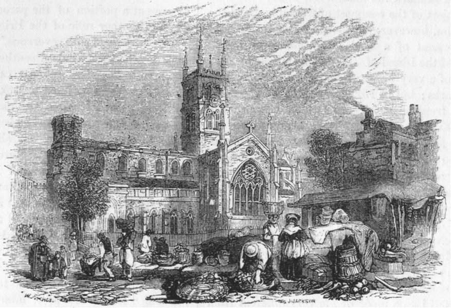 Associate Product LONDON. St Mary Overies, South 1845 old antique vintage print picture