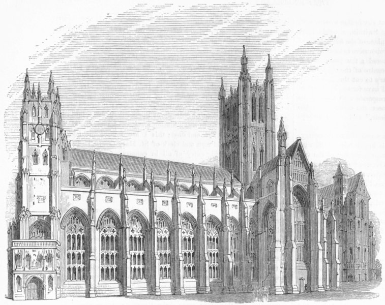 Associate Product KENT. Canterbury Cathedral, South side 1845 old antique vintage print picture