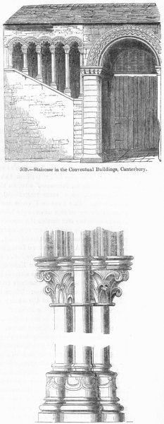 Associate Product KENT. Convent stairs; Capital & Base, Canterbury 1845 old antique print