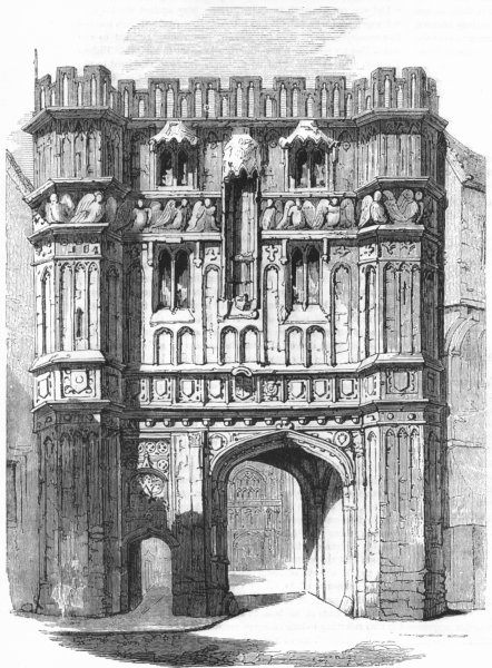Associate Product CHURCHES. Cathedral precinct gateway 1845 old antique vintage print picture