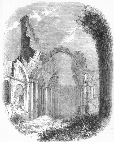 Associate Product NORTHUMBS. Ruins, Priory of Lindisfarne 1845 old antique vintage print picture