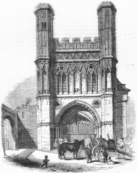 Associate Product KENT. St Augustine's gate, Canterbury 1845 old antique vintage print picture