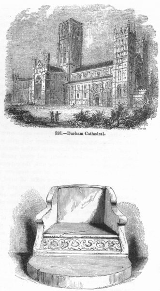 Associate Product DURHAM. Cathedral; Stone chair, Chapter House  1845 old antique print picture