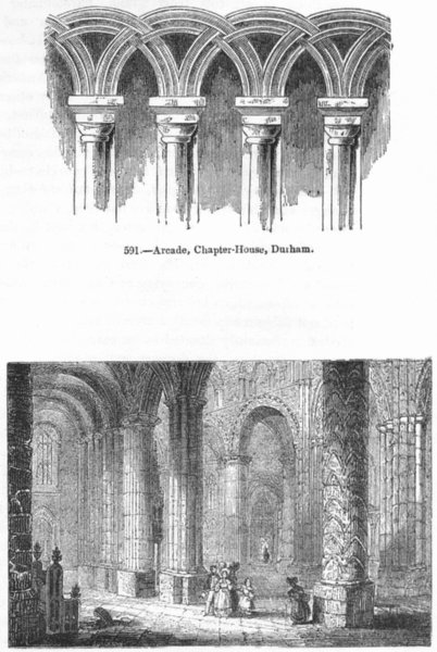 Associate Product DURHAM. Arcade, Chapter House; Cathedral 1845 old antique print picture