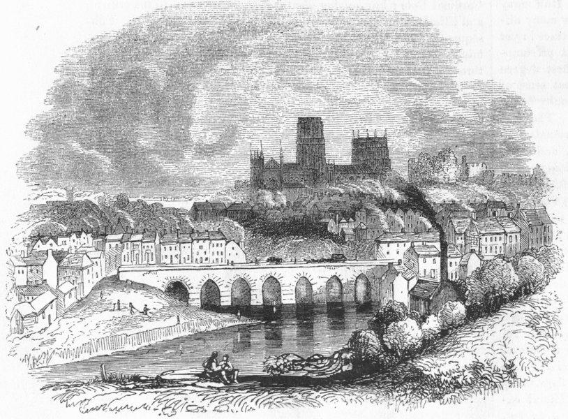 Associate Product DURHAM. Durham 1845 old antique vintage print picture