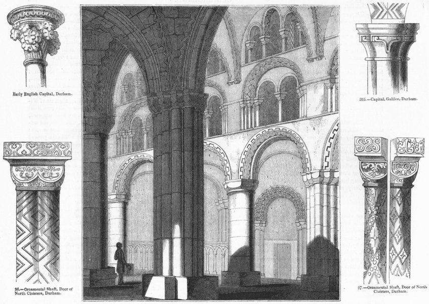 Associate Product DURHAM. Cathedral nave; shaft, capital 1845 old antique vintage print picture