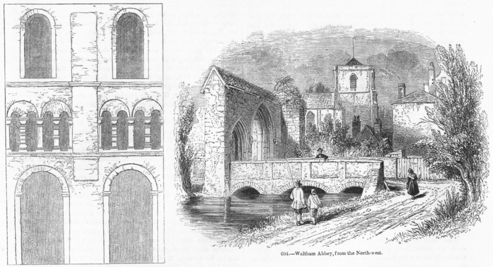 Associate Product HERTS. Transept, St Albans; Waltham Abbey, NW 1845 old antique print picture