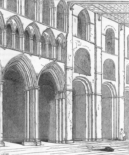 Associate Product HERTS. Nave, St Albans 1845 old antique vintage print picture
