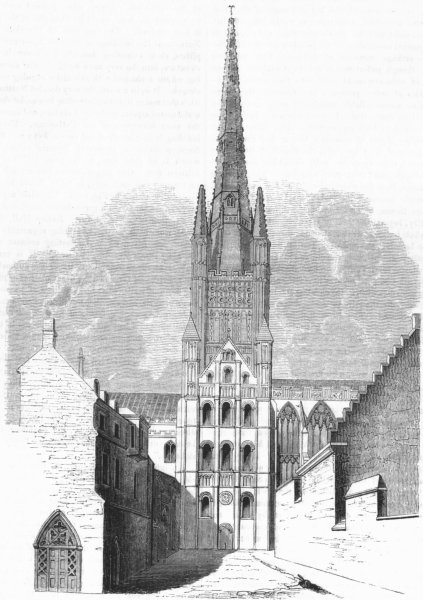 Associate Product NORFOLK. Cathedral of Norwich 1845 old antique vintage print picture