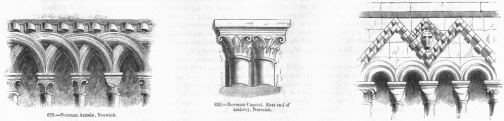 Associate Product NORWICH. Norman Arcade; Capital, East end of Gallery;  1845 old antique print