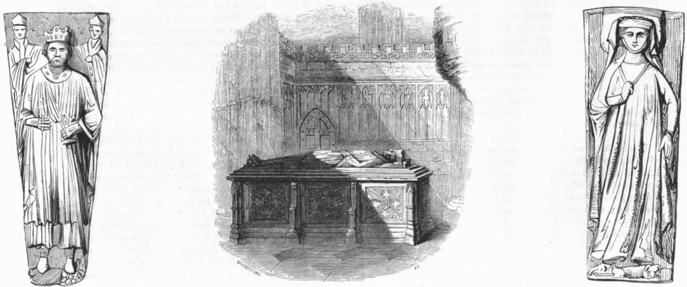 Associate Product WORCESTER. King John & tomb; Lady Harcourt 1845 old antique print picture